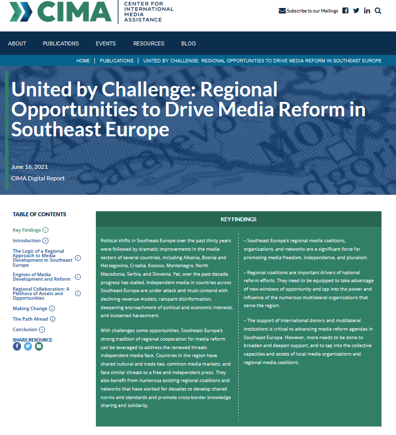 United by Challenge: Regional Opportunities to Drive Media Reform in Southeast Europe